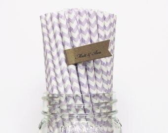 Lavender Paper Straws, 25 Purple Chevron Paper Straws, Wedding Table Setting, Pink Baby Shower, Kids Birthday Party, Cake Pops Made in USA,