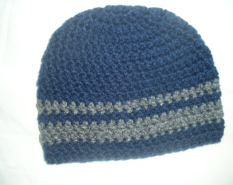 Baby Beanie Hat, baby boy beanie, blue and gray beanie, crochet baby beanie, boys beanie, childrens beanie, childrens hat