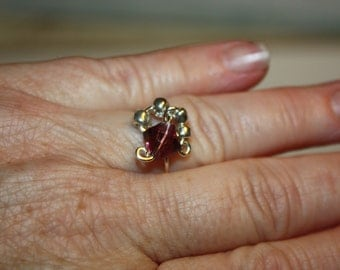 Ring, Sterling Ring, Amethyst Bi-Cone Ring, Wire Wrap Ring