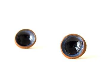 Blue Earrings, Stud Earings, Blue Ceramic Earrings, Post Earrings, Natural Earrings, Silver 925, Circle Earrings, Holiday Gift