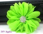 Lime daisy chiffon flower with star rhinestone center - hair clip flower - fabric flowers - wholesale flowers - hair bow supplies