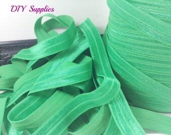 Green 5/8 fold over elastic, Wholesale elastic, headband supplies, foe, diy hair ties, elastic by the yard, fold over elastic,
