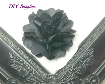 "2.5"" Black satin flower - fabric flowers - wholesale flowers - small flower - boutonnieres"