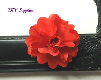 "2.5"" red flower - fabric flowers - wholesale flowers - small flower - hair clip flower - headband supplies"