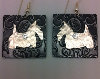 Nickel Silver Embossed Scottish Terrier Dog Earrings
