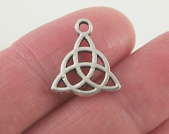 10pc. Triquetra or Trinity Knot charm, 16x14mm, antique silver finish