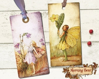 Fairy gift tags Fairies printable labels Set Of 8 In Two Sizes - 4.5 x 2.25 inch & 3.5 x 1.75 inch - Gift Tag Digital Tag download