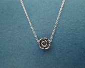 Tiniest, Rose, Belle, Silver, Necklace, Small, Dainty, Necklace, Vintage, Style, Rose, Necklace, Everyday, Minimal, Jewelry, Gift, For, Her