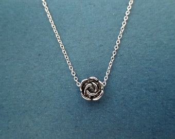 Tiniest, Rose, Belle, Silver, Necklace, Minimal, Dainty, Vintage, Style, Flower, Necklace, Best friends, Lovers, Birthday, Gift