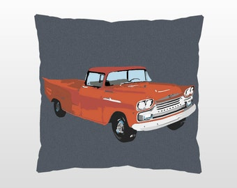 Vintage Red Chevy Truck Decorative Pillow