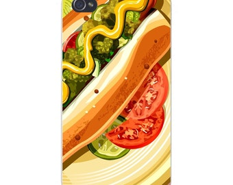Apple iPhone Custom Case White Plastic Snap on - Hot Dog w/ Tomatoes, Relish, & Mustard 4681