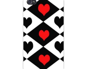 Apple iPhone Custom Case White Plastic Snap on - Diamonds w/ Hearts Black, Red, & White 5194