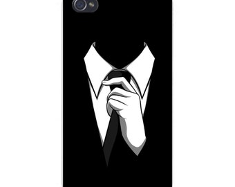 Apple iPhone Custom Case White Plastic Snap on - Suit & Tie Closeup Silhouette 6810