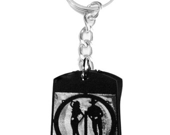 Southern Cowboy and Cowgirl Standing Logo Symbols - Metal Ring Key Chain COWBOY GIRL
