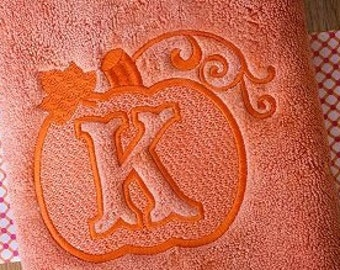 Monogramnmed & Embossed Pumpkin Handtowel - Perfect for Fall!!!