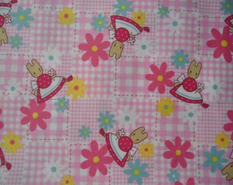 "Fat Quarter of  Sanrio Cotton Flower Marron Cream Fabric in Pink. Approx. 18"" x 22"" Made in Japan"
