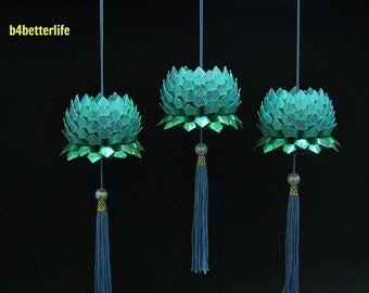 Lot of 3pcs size Small Light Blue Color Origami Hanging Lotus. (RS paper series)
