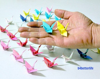 "120pcs Chiyogami Yuzen Origami Cranes Hand-folded From 2"" x 2"" Square Papers. (RS paper series)."