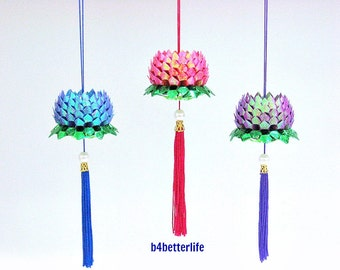 Lot of 3pcs Mini Size Origami Hanging Lotus In 3 Different Colors. (TX paper series). #FLT-165.