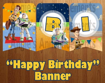 "INSTANT DOWNLOAD: Toy Story ""Happy Birthday"" Banner"