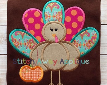 Diva Turkey Girl Thanksgiving Machine Applique Design