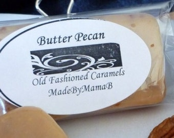 Butter Pecan caramels ~ Box of 32 extra creamy, old fashioned, homemade caramels nuts