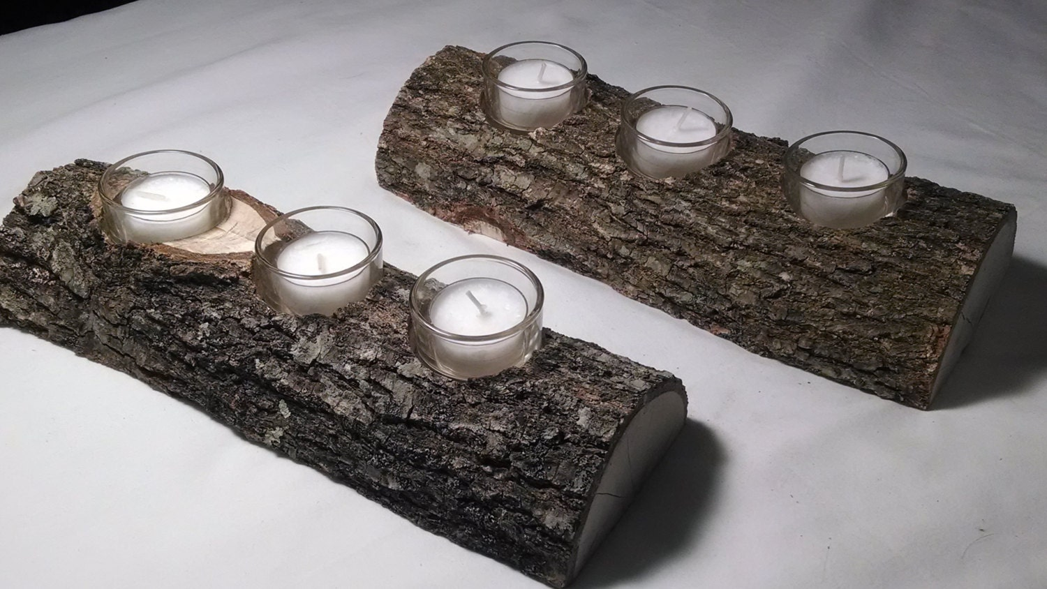 Set of 2 rustic log candle holder rustic wedding decorations for Rustic house candles