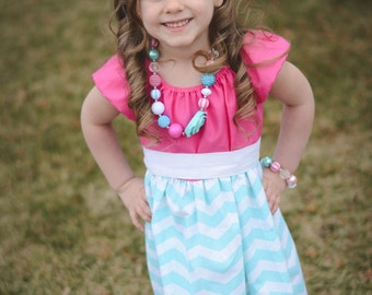 Heavenly Hot Pink & Blue Chevron Ruffle Sundress - Girls - Spring - Summer -  Reasant Top - Birthday - Party - Special Occasion - Holiday