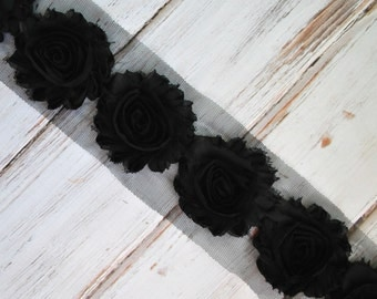"2.5"" Black shabby flower trim - frayed chiffon - rose flowers by the yard - JT Black"