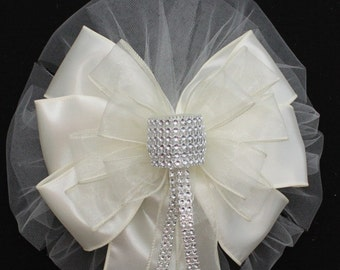 Ivory Bling Wedding Pew Bow - Church Pew Decorations, Wedding Aisle Decorations, Wedding Ceremony Bow, Wedding Chair Bows