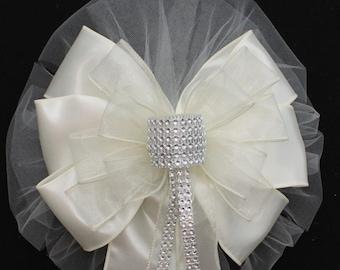 Ivory Bling Wedding Pew Bow - Church Pew Decorations, Wedding Aisle Decorations, Wedding Ceremony Bow, Wedding Chair Bows