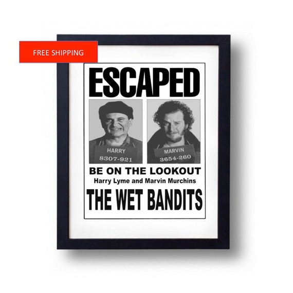 Home alone the wet bandits harry and marv wanted escaped for Home alone theme decorations