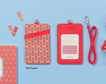ID Card Holder / Transportation Card Holder [ Red Flower ]