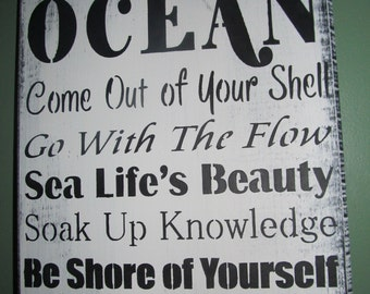 Wisdom from the ocean - Advice cute decor wooden sign