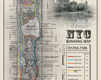"NYC Central Park ""The San Remo & The Lake"" black and white running route map"