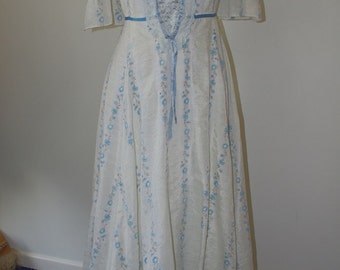 Vintage CanCan blue and white boho  folk bohemian romantic hippie dress.