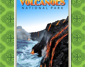Hawaii Volcanoes National Park Travel Poster Wall Decor (7 print sizes available)