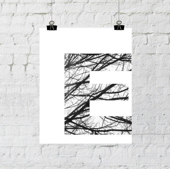 Letter E Wall Decor, Scandinavian Art, Monogram, Black and White Photography, Minimalist, Tree Branch, Instant Download-Adoption Fundraiser