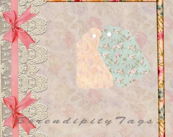 Pretty Scrapbook Papers and Cover including 2 tags and some elements for you to use.