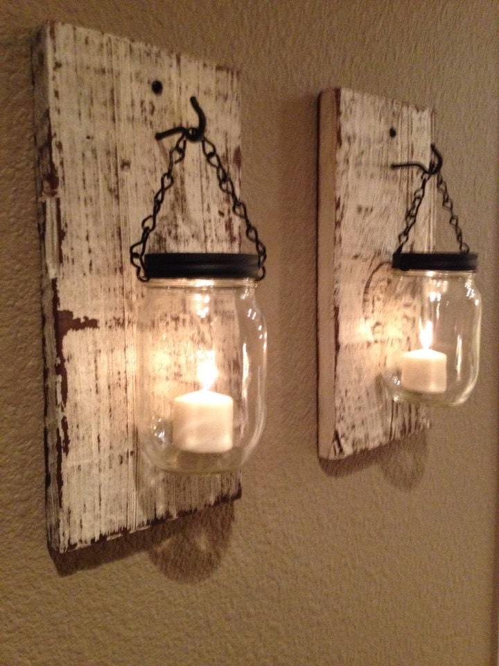 Rustic barn wood mason jar candle holders set of 2 for Rustic wood candle holders