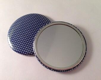 Classic White Polka Dot on Navy Fabric Pocket Mirrors