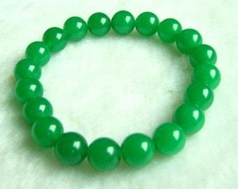 Free S&H - Beautiful Stretchy 18 Top Grade 10mm Green Jade Beaded Bracelet
