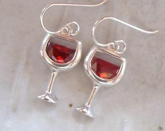 Red Wine Earrings, Sterling Silver, Cubic Zirconia, Dangle, Wine Lover