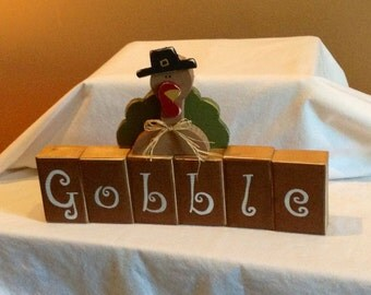 """Happy Thanksgiving """"GOBBLE"""" wooden block decoration with Turkey"""