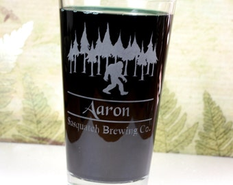 Personalized Sasquatch Big Foot Brewing Co Home Brew Beer Pint Glass,home brew gift, homebrew, beer gift, custom home brew glass