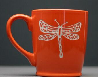 Dragonfly Circle and lines Etched Ceramic Coffee Mug, coffee gift, tea gift, tea mug, coworker gift,birthday gift,
