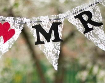 Lace Mr Mrs Wedding photo Banner, large banner