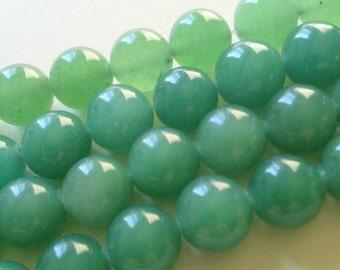 Jade Green Aventurine Quartz Semi-Precious Stone Round Beads 10mm, Loose Beads QTY 10