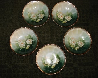 Weimar Germany Waterlily Small Bowls, Set of 5