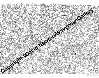 7. Instant PDF Download Hand Drawn Zentangle Inspired 'Mindjunk' Coloring Colouring Page Abstract Zendoodle Black and White Drawing